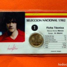 Coleccionismo deportivo: SELECCIÓN NACIONAL 1982, 82 - Nº 7 MARCOS ALONSO- FICHA TÉCNICA - PLASTIFICADA CON 1 PESETA - ESPAÑA. Lote 66475878