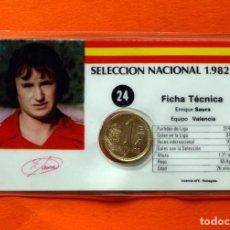 Coleccionismo deportivo: SELECCIÓN NACIONAL 1982, 82 - Nº 24 SAURA - FICHA TÉCNICA - PLASTIFICADA CON 1 PESETA - ESPAÑA. Lote 66478538