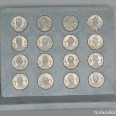 Coleccionismo deportivo: COLECCION 16 MONEDAS OFICIAL FC.BARCELONA 1989-1999 CON EXPOSITOR. Lote 84125656
