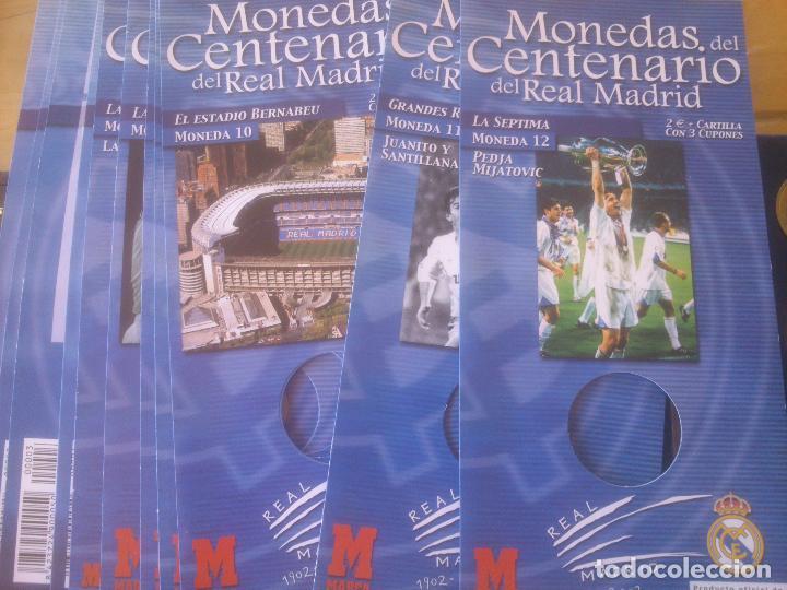 Coleccionismo deportivo: REAL MADRID CAJA EXPOSITOR COMPLETA DE MONEDAS EL CENTENARIO DEL MEJOR CLUB DEL SIGLO XX BAÑO PLATA - Foto 4 - 85365468