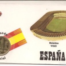 Coleccionismo deportivo: ESPAÑA 82 ESTADIO BALAÍDOS VIGO (MONEDA OFICIAL 1 PTA COBRE J. CARLOS I) VISITAR REVERSO. Lote 87067428