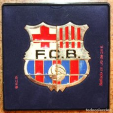 Coleccionismo deportivo: ESCUDO F.C. BARCELONA BAÑADO EN ORO DE 24K BARÇA 12,5 X 13 CM.. Lote 94957463
