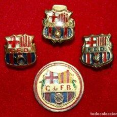 Coleccionismo deportivo: 4 INSIGNIAS ESCUDOS ANTIGUOS LACADOS F.C. BARCELONA Y C.F. BARCELONA.. BARÇA. Lote 94959687