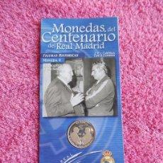 Coleccionismo deportivo: MONEDAS DEL CENTENARIO DEL REAL MADRID 4 BERNABEU Y MUÑOZ 1902 2002 DIARIO MARCA . Lote 95001627