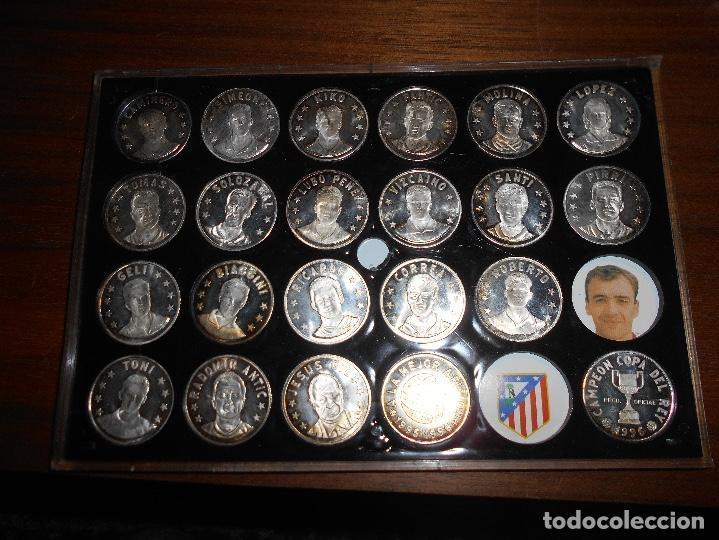 COLECCIÓN NO COMPLETA 22 MONEDAS DE PLATA DEL DOBLETE DEL ATLÉTICO DE MADRID 1995 1996 RARAS (Coleccionismo Deportivo - Medallas, Monedas y Trofeos de Fútbol)
