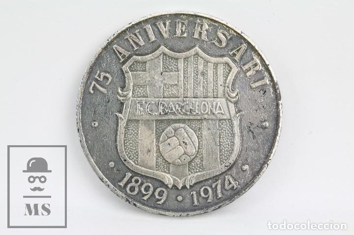 MEDALLA CONMEMORATIVA DE PLATA - FÚTBOL CLUB / FC BARCELONA - BARÇA 75 ANIVERSARI, 1899-1974 (Coleccionismo Deportivo - Medallas, Monedas y Trofeos de Fútbol)