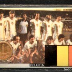 Coleccionismo deportivo: ESPAÑA MUNDIAL DE FUTBOL 1982 BELGICA CARNET 11X7CM MONEDA OFICIAL Y PARTIDOS. Lote 119722555
