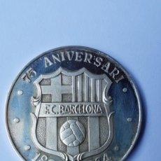 Coleccionismo deportivo: MEDALLA PLATA FINA BARÇA 75 - 75 ANIVERSARI 1899 - 1974 FUTBOL CLUB BARCELONA. FUTBOL. Lote 219577260