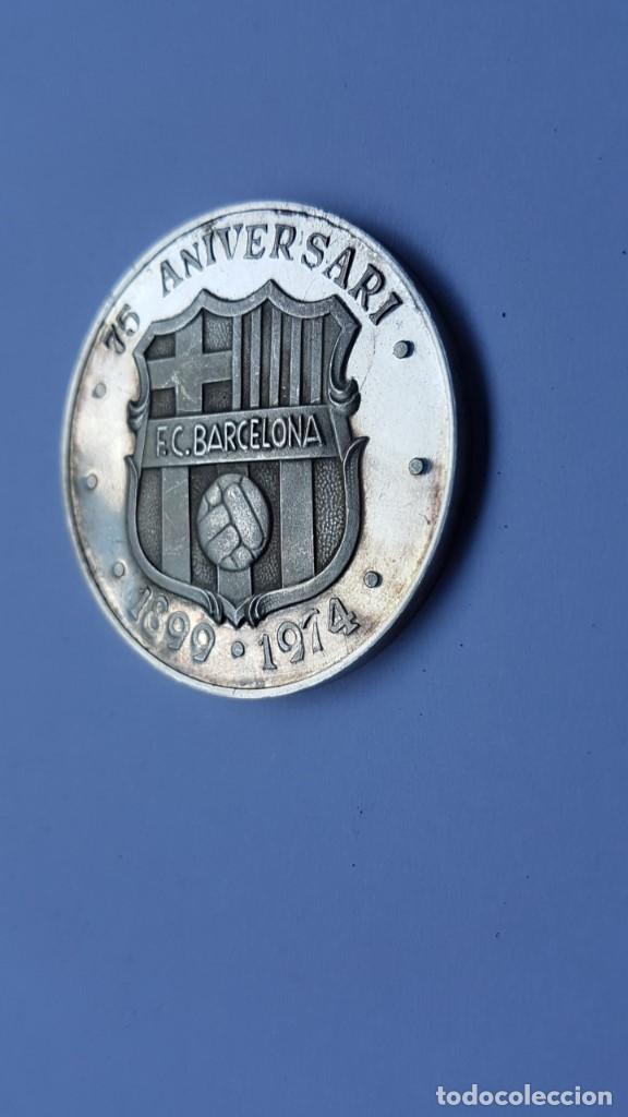 Coleccionismo deportivo: MEDALLA PLATA FINA BARÇA 75 - 75 ANIVERSARI 1899 - 1974 FUTBOL CLUB BARCELONA. FUTBOL - Foto 2 - 127728331