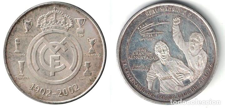 MEDALLA MONEDA REAL MADRID - LAS GRANDES REMONTADAS - 1902-2002. - MONEDA-139 (Coleccionismo Deportivo - Medallas, Monedas y Trofeos de Fútbol)