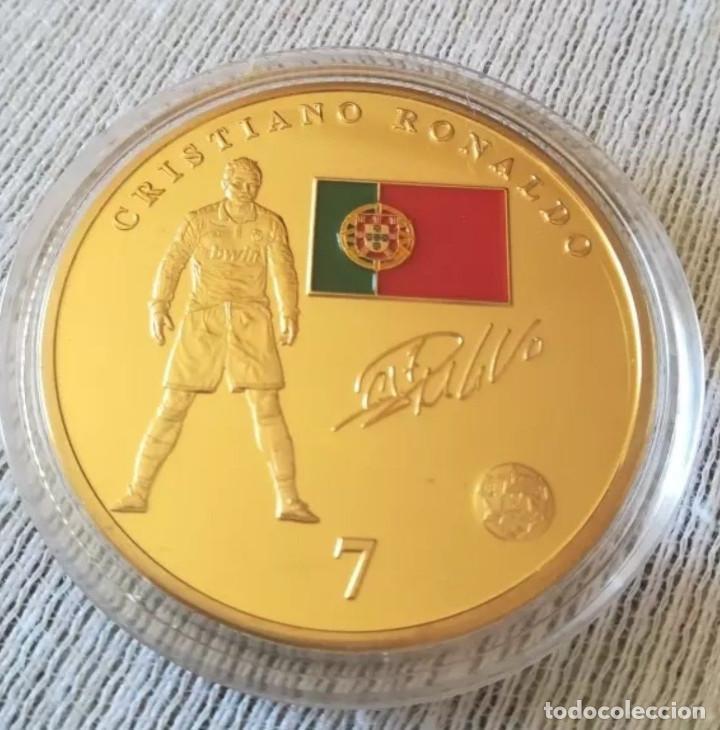 MONEDA CRISTIANO RONALDO PORTUGAL / ESCUDO REAL MADRID CR7 (Coleccionismo Deportivo - Medallas, Monedas y Trofeos de Fútbol)