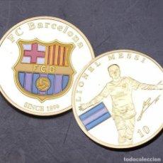 Coleccionismo deportivo: MONEDA LIONEL MESSI / ESCUDO FC BARCELONA. Lote 134008338