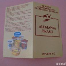 Coleccionismo deportivo: FOLLETO DE MONEDAS CONMEMORATIVAS MUNDIAL 82. ALEMANIA BRASIL. PROMOCIÓN DANONE. . Lote 134112134