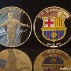 Coleccionismo deportivo: MONEDA CHAPADA EN ORO DEL F.C. BARCELONA. Lote 135753214