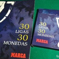 Coleccionismo deportivo: 30 LIGAS 30 MONEDAS, MARCA, 1931-32 A 2006-2007, REAL MADRID COMPLETA MONEDAS Y FICHAS. Lote 140338694