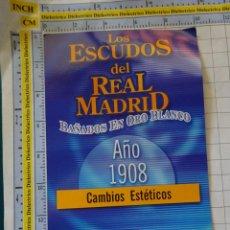 Coleccionismo deportivo: MEDALLA MONEDA INSIGNIA. LOS ESCUDOS DEL REAL MADRID CLUB DE FÚTBOL. ESCUDO 1908. PRECINTADO. 40 GR. Lote 142344558