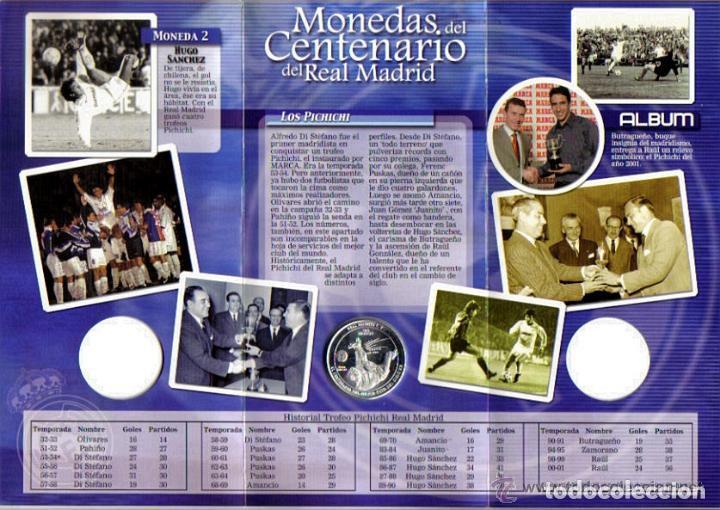 Coleccionismo deportivo: MONEDA DEL CENTENARIO DEL REAL MADRID - LOS PICHICHI - HUGO SANCHEZ - BAÑADA EN PLATA - Foto 2 - 143332346