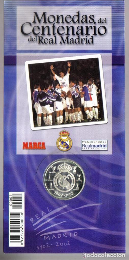 Coleccionismo deportivo: MONEDA DEL CENTENARIO DEL REAL MADRID - LOS PICHICHI - HUGO SANCHEZ - BAÑADA EN PLATA - Foto 4 - 143332346