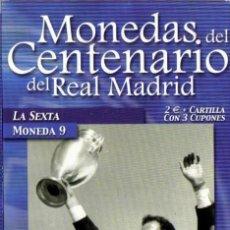 Coleccionismo deportivo: MONEDA DEL CENTENARIO DEL REAL MADRID - LA SEXTA - BAÑADA EN PLATA. Lote 143335802