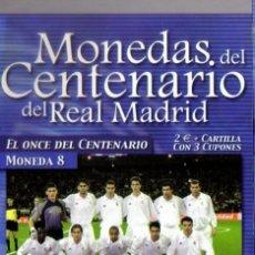 Coleccionismo deportivo: MONEDA DEL CENTENARIO DEL REAL MADRID - EL ONCE DEL CENTENARIO - BAÑADA EN PLATA. Lote 143335886