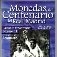 Coleccionismo deportivo: MONEDA DEL CENTENARIO DEL REAL MADRID - GRANDES REMONTADAS - JUANITO Y SANTILLANA - BAÑADA EN PLATA. Lote 143336258