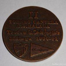 Coleccionismo deportivo: MEDALLA MEDALLÓN DEL II TORNEO CANTERA DEL CLUB DEPORTIVO MÁLAGA FÚTBOL. 90 91 1990 1991. 60 GR. Lote 153370546