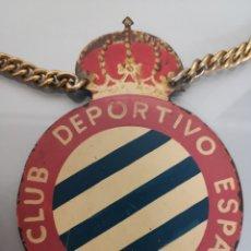 Coleccionismo deportivo: ANTIGUA PLACA REAL CLUB DEPORTIVO ESPAÑOL LATÓN ESMALTADA 14X10CM. Lote 167602294