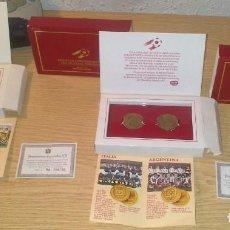 Coleccionismo deportivo: DOS ESTUCHES MONEDAS CONMEMORATIVAS MUNDIAL ESPAÑA 82 DANONE COMPLETOS BUEN ESTADO + 2 MONEDAS SEDES. Lote 171270183