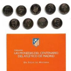 Coleccionismo deportivo: OPORTUNIDAD 9 MONEDAS CENTENARIO ATLETICO DE MADRID CON BAÑO DE ORO DE 24 KILATES. Lote 174258569