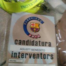 Coleccionismo deportivo: ACREDITACION DE CANDIDETURA BARÇA - AGUSTÍ BENEDITO 2010 CON SU FUNDA Y CINTA D, ORIGEN. Lote 181626060