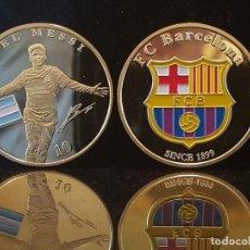 Coleccionismo deportivo: MONEDA CHAPADA EN ORO DEL F.C. BARCELONA Y MESSI. Lote 183830172