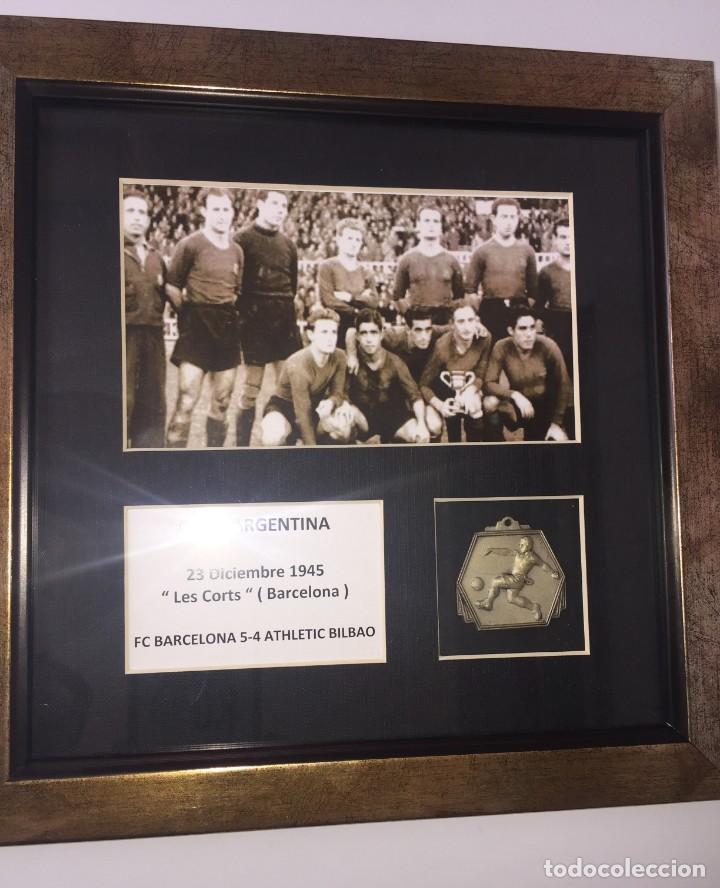 Coleccionismo deportivo: FC Barcelona medalla campéon Supercopa ( Copa Argentina ) 1945 Barcelona Athletic Bilbao - Foto 3 - 192965960