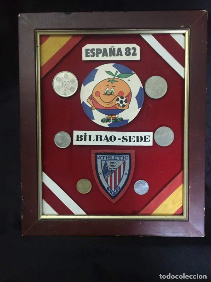 COLLAGE MUNDIAL FUTBOL (NARANJITO) 82 SEDE BILBAO (Coleccionismo Deportivo - Medallas, Monedas y Trofeos de Fútbol)