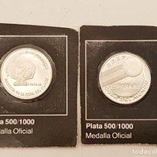 Coleccionismo deportivo: 2 MONEDAS OFICIALES DEL MUNDIAL DE FÚTBOL ESPAÑA 82, (PLATA PRECINTADA). Lote 197638906
