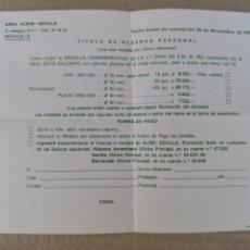 Coleccionismo deportivo: TÍTULO DE RESERVA - MEDALLA CONMEMORATIVA 1 °COPA DEL REY AÑO 1977. Lote 207649300
