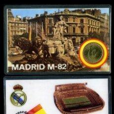 Coleccionismo deportivo: CARNET OFICIAL CON MONEDA AUTENTICA DE 1 PESETA MUNDIAL DEL 1982 - ( SANTIAGO BERNABEU - MADRID ). Lote 208973390