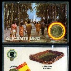 Coleccionismo deportivo: CARNET OFICIAL CON MONEDA AUTENTICA DE 1 PESETA MUNDIAL DEL 1982 - ( J. RICO PEREZ - ALICANTE ). Lote 208977035