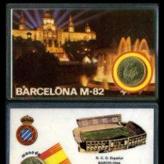 Colecionismo desportivo: CARNET OFICIAL CON MONEDA AUTENTICA DE 1 PESETA MUNDIAL DEL 1982 - ( R.C.D. ESPAÑOL - BERCELONA ). Lote 208977333