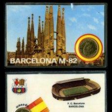 Coleccionismo deportivo: CARNET OFICIAL CON MONEDA AUTENTICA DE 1 PESETA MUNDIAL DEL 1982 - ( F.C BARCELONA - BERCELONA ). Lote 208977540