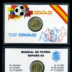 Colecionismo desportivo: CARNET OFICIAL CON MONEDA AUTENTICA DE 1 PESETA COPA MUNDIAL DE FUTBOL ESPAÑA 82. Lote 208978313