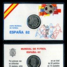 Colecionismo desportivo: CARNET OFICIAL CON MONEDA AUTENTICA DE 5 PESETAS COPA MUNDIAL DE FUTBOL ESPAÑA 82. Lote 208978991