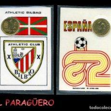 Coleccionismo deportivo: ATHLETIC BILBAO CARNET OFICIAL CON MONEDA AUTENTICA DE 1 PESETAS COPA MUNDIAL DE FUTBOL ESPAÑA 82. Lote 208979646
