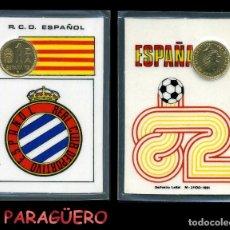 Colecionismo desportivo: R.C.D. ESPAÑOL CARNET OFICIAL CON MONEDA AUTENTICA DE 1 PESETAS COPA MUNDIAL DE FUTBOL ESPAÑA 82. Lote 208979831