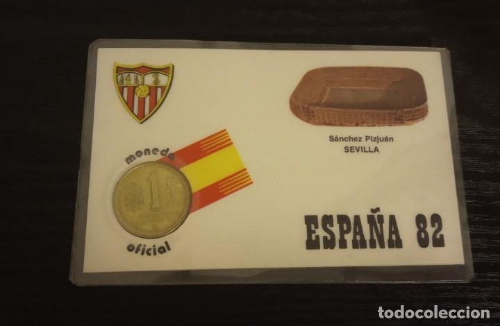 -MONEDA PLASTIFICADA CONMEMORATIVA MUNDIAL ESPAÑA 82 - SEVILLA SEDE SEVILLA , NUMISMATICA (Coleccionismo Deportivo - Medallas, Monedas y Trofeos de Fútbol)