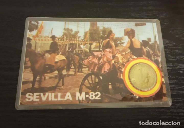 Coleccionismo deportivo: -MONEDA PLASTIFICADA CONMEMORATIVA MUNDIAL ESPAÑA 82 - BETIS SEDE SEVILLA , numismatica - Foto 2 - 232240875