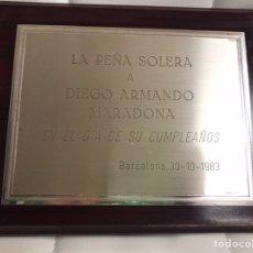 Collectionnisme sportif: CUADRO PEÑA SOLERA MARADONA FC BARCELONA BARÇA MATCH WORN. Lote 235320980