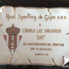 Coleccionismo deportivo: PLACA ORIGINAL SPORTING GIJÓN A CAMILO LIZ. Lote 237868095