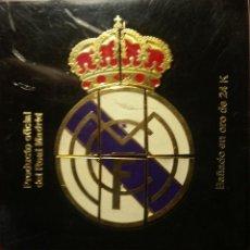 Coleccionismo deportivo: ESCUDO REAL MADRID. BAÑADO EN ORO DE 24K. Lote 263548925