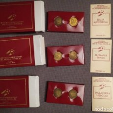 Coleccionismo deportivo: 3 ESTUCHES MONEDAS CONMEMORATIVAS MUNDIAL ESPAÑA 82 INGLATERRA/URUGUAY/ALEMANIA/BRASIL/ARGENTINA/ITA. Lote 268260939