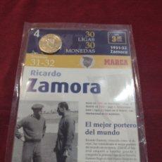 Collezionismo sportivo: MONEDA RICARDO ZAMORA COLECCIÓN PERIÓDICO MARCA.. Lote 275574073